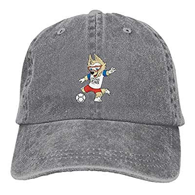 FKStore Unisex 2018 Russia World-Cup Mascot Snapback Curved Baseball Hats 100% Cotton Adjustable Denim Dad Cap