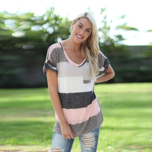 Amazon.com: DondPO Womens Short Sleeve T-Shirt Fashion Stripe Blouse Ladies Casual T Shirt Round Neck Summer Loose Tops Clothes Plus Size with Front ...