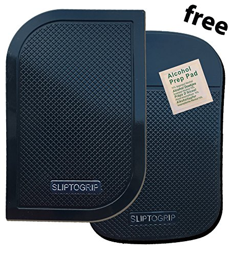 Price comparison product image SlipToGrip Premium Cell Pads TWIN PACK - Two Universal Cell Pads and Alcohol Pad. Sticky Anti-Slip GEL Pads - Holds Cell Phones, Sunglasses, Coins, Golf Cart, Boating, Speakers.