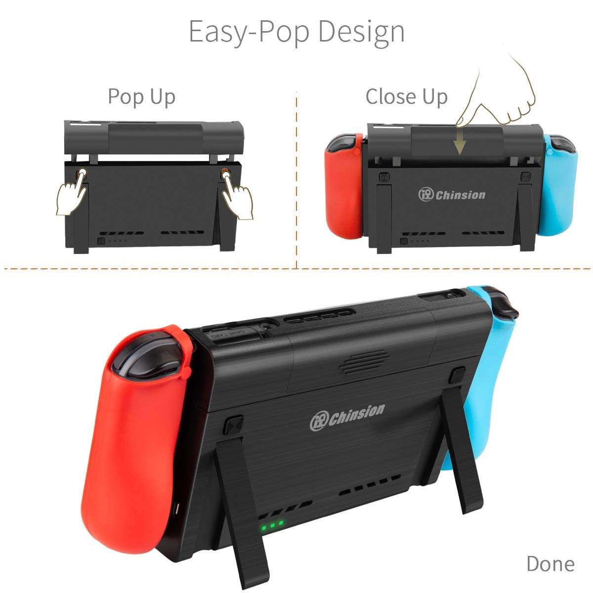 Battery Charger Case for Nintendo Switch, Portable Switch Battery Case with 10, 000 Mah Extended Travel Power Bank, Kickstand and USB-C Charging Cable by NSBCC (Image #4)