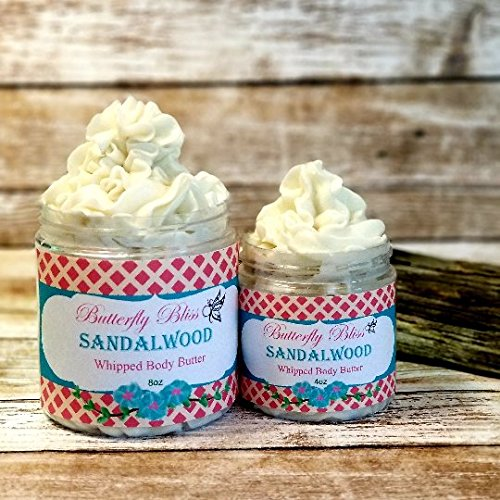 Sandalwood Whipped Body Butter, natural lotion, organic, 8oz jar, made with shea butter, mango butter, coconut oil, almond oil