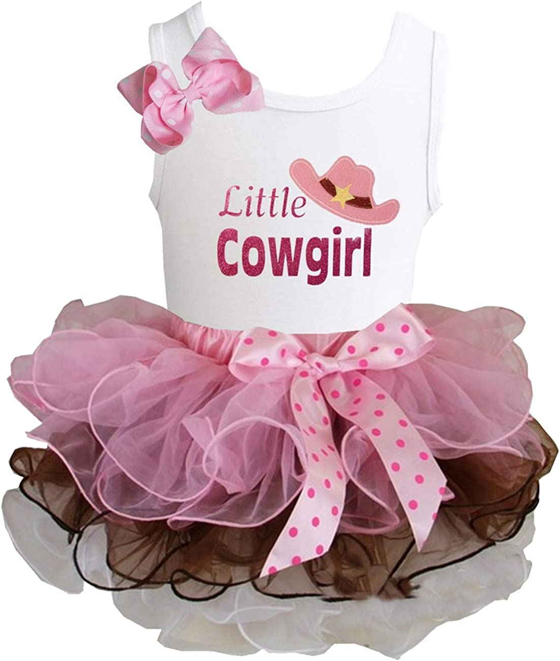 Kirei Sui Brown Light Pink Tutu /& Little Cowgirl White Tank Top