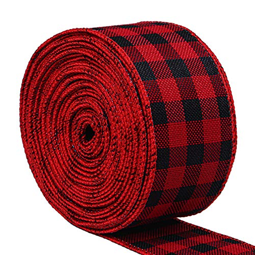 Christmas Wired Ribbon (URATOT Red and Black Plaid Burlap Ribbon Christmas Wired Ribbon Wrapping Ribbon for Christmas Crafts Decoration, Floral Bows Craft, 236 by 1.9)