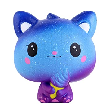 Lispeed Squishie Gato Helado Crema Galaxia Dulce niños Juguete Lento Steigend Antistress Squishy Galaxy Cat Ice Cream Slow Rising Kawaii Soft 11 * 11 cm: ...