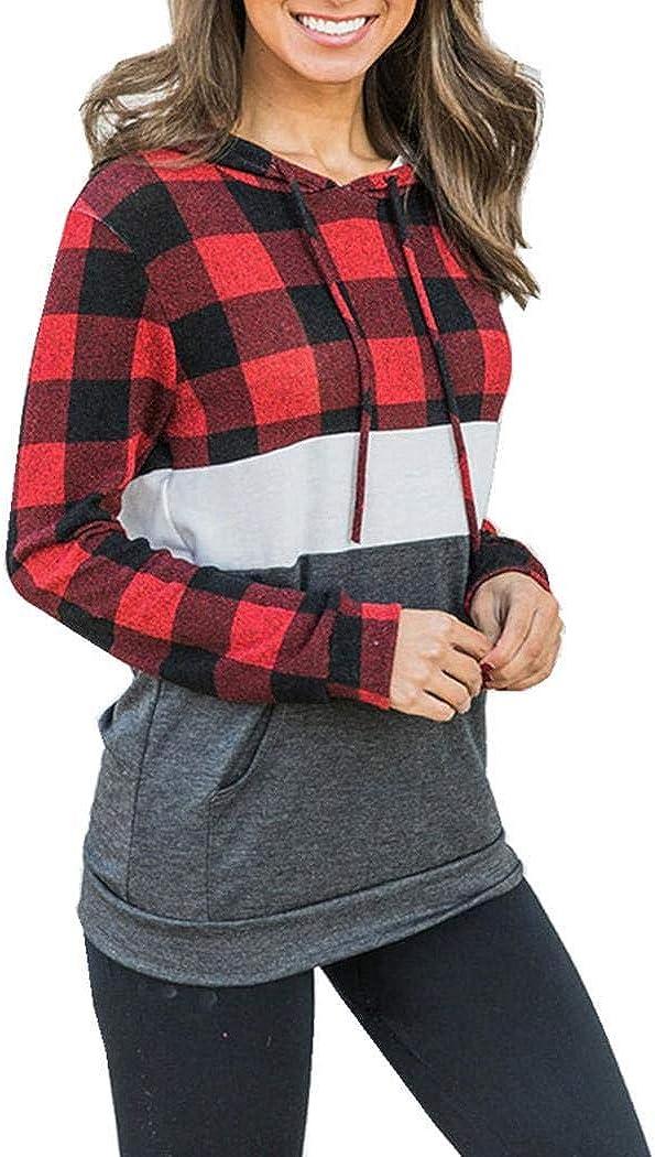 xixou Women Hooded Sweatshirt Casual Long Sleeve Plaid Patchwork Pullover Tops Fashion Hoodies