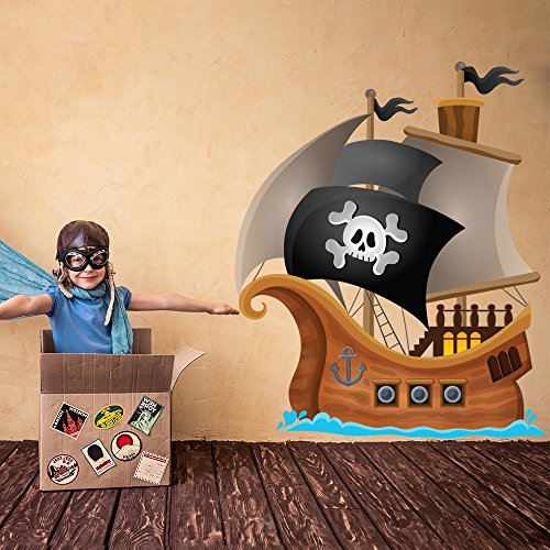 azutura Pirate Wall Decal Jolly Roger Pirate Ship Wall Sticker Kids Bedroom Home Decor available in 8 Sizes XX-Large Digital
