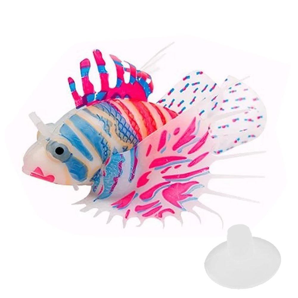 Gosear Silicón Colorido Pez León de Flotante Que Brilla Intensamente / Ornamentos de Jardinería Peces Artificiales Decoraciones Accesorios para Acuario Pecera,Rosa