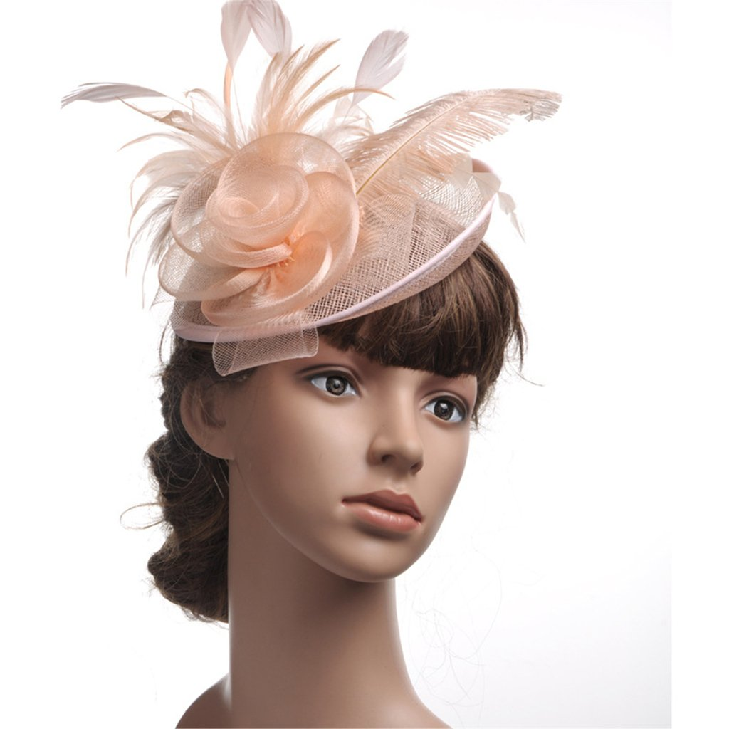 APXPF Womens Feather Mesh Net Sinamay Fascinator Hat with Hair Clip Tea Party Derby Blush