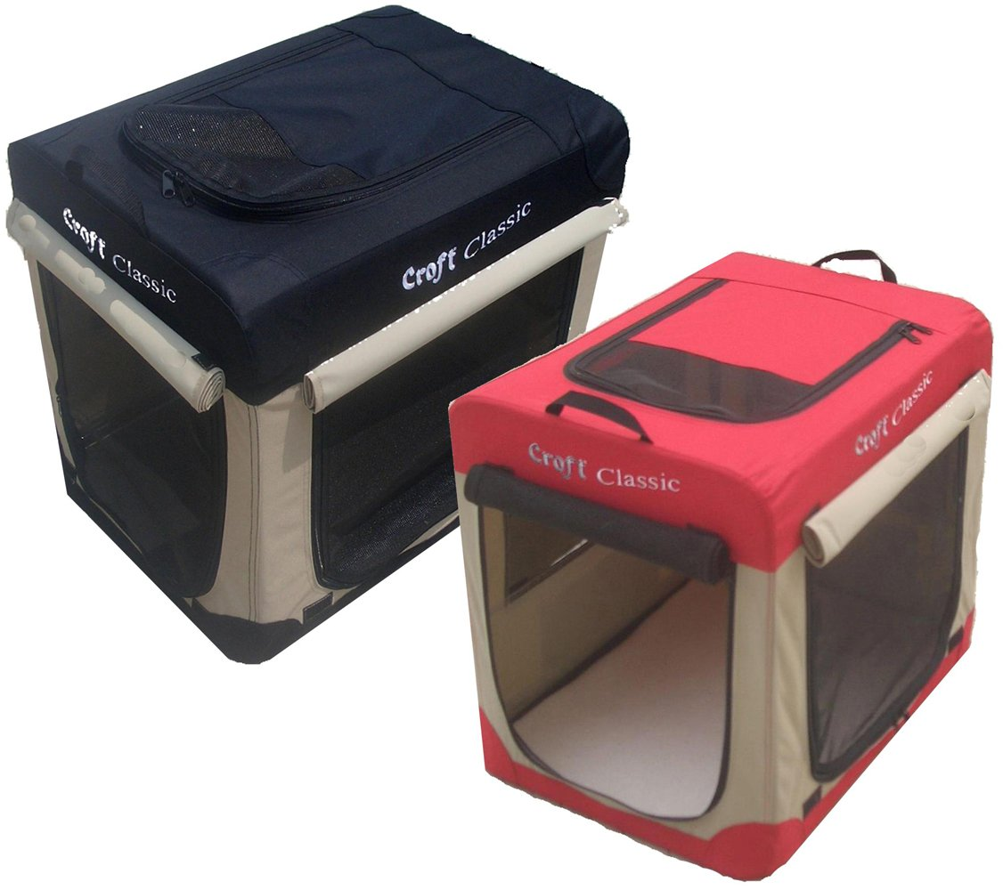 Croft Classic Fabric 43' Soft Dog Puppy Cage Folding Crate with Fleece Liner and Carry Case, Choice of colours Red and beige or Black and beige. (Red and Beige)