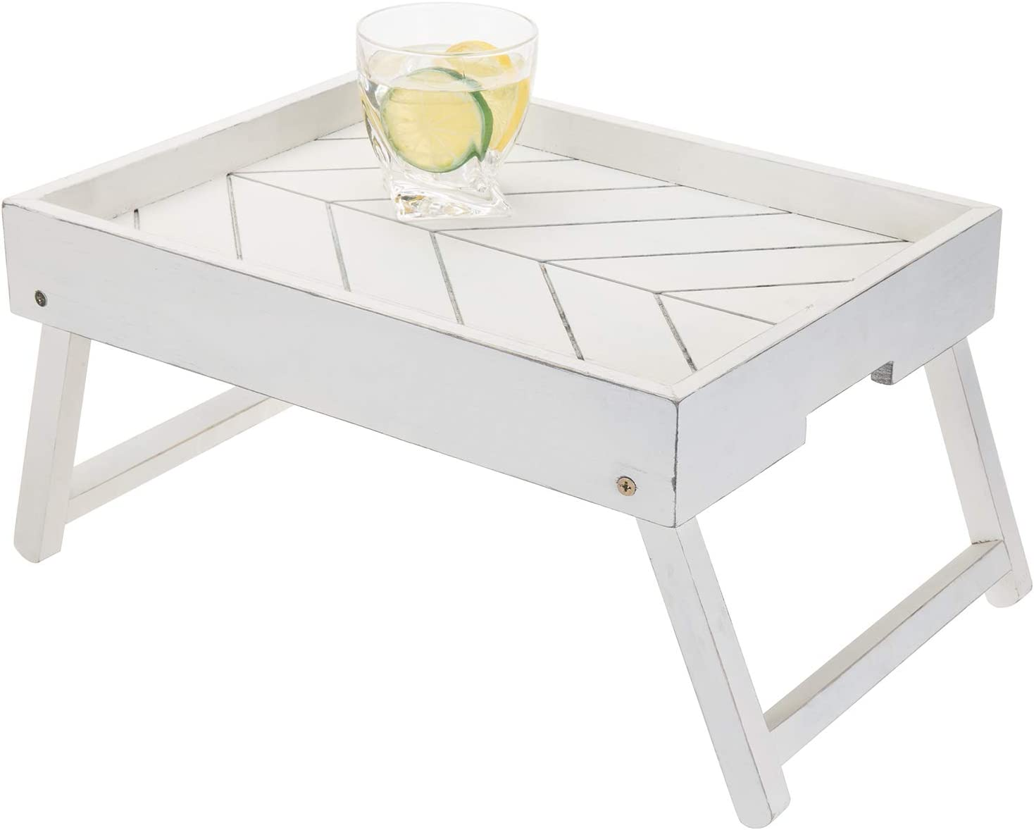 MyGift Vintage White Wood Breakfast Tray with Foldable Legs