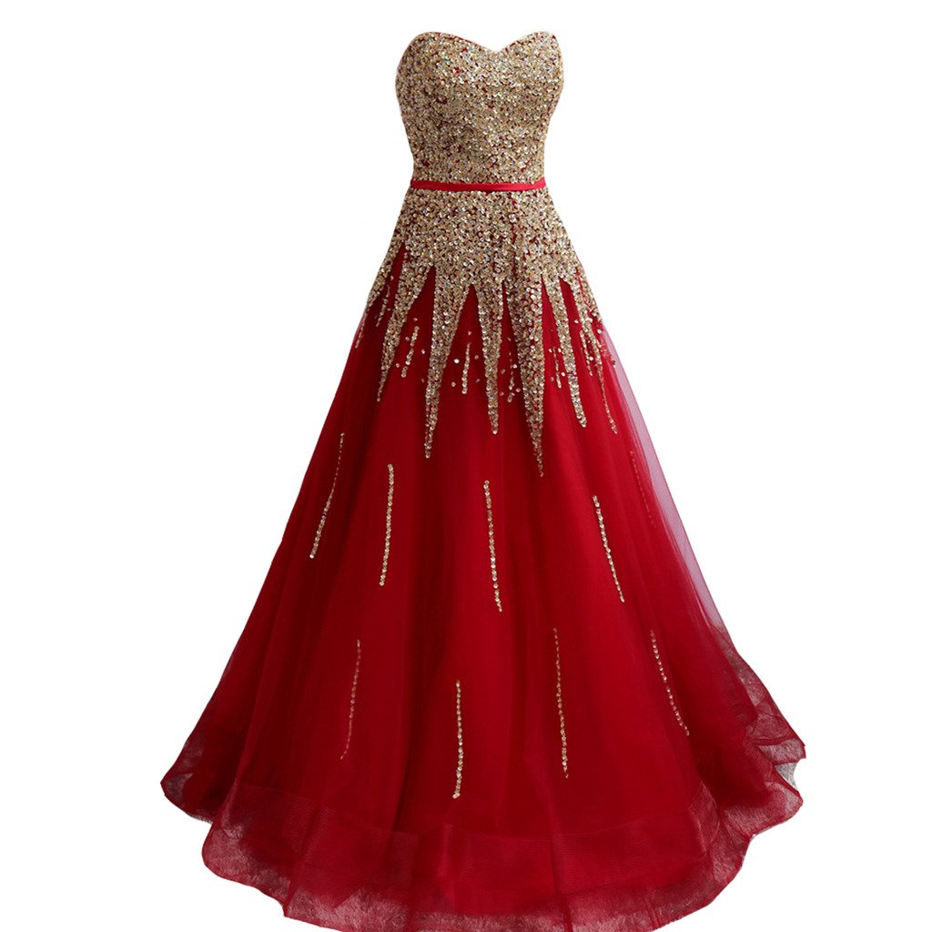 Kivary Red A Line with Gold Beading Long Corset Sash Sweetheart Prom Evening Dresses US20W