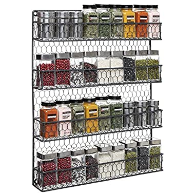4 Tier Gray Country Rustic Chicken Wire Pantry, Cabinet or Wall Mounted Spice Rack Storage Organizer