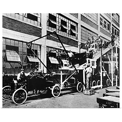 GREATBIGCANVAS Poster Print Entitled Model T Assembly line at The Ford Automobile Plant in Highland Park, Michigan, 1913 by 14
