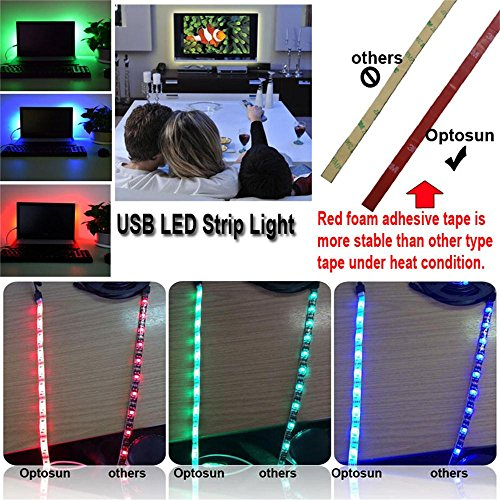 USB LED Strip Lights, Foxcesd 1-Meter Waterproof Multi Color Changing 5050 RGB LED Strip Kit, LED TV Backlight Kit with USB Port for HDTV, Desktop, Monitors, Gardens, Homes, Kitchen, Cars, Bar