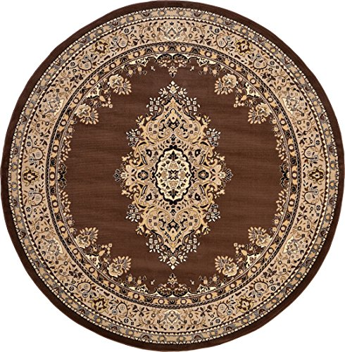 Rug Brown Round Oriental (A2Z Rug Traditional Brown 8' Feet Round Mashad Collection Area rug Perfect for any floor & Carpet)