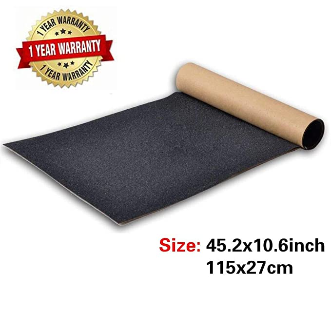 BooTaa Skateboard Grip Tape Sheet,45.2x10.6 inch, Bubble Free, Waterproof, Longboard Griptape, Black Scooter Grip Tape, Sandpaper for Rollerboard, Stairs, Gun, Pedal, Pistol,Wheelchair, Step(115x27cm)