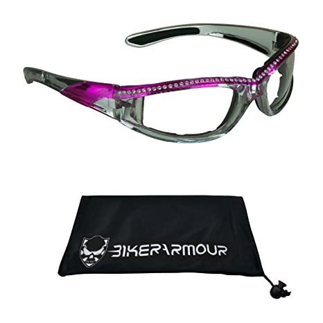 92e09b3ba9d4 Image Unavailable. Image not available for. Color  Chrome and Pink Frame  Motorcycle Safety Glasses with Rhinestones Foam Padded for Women