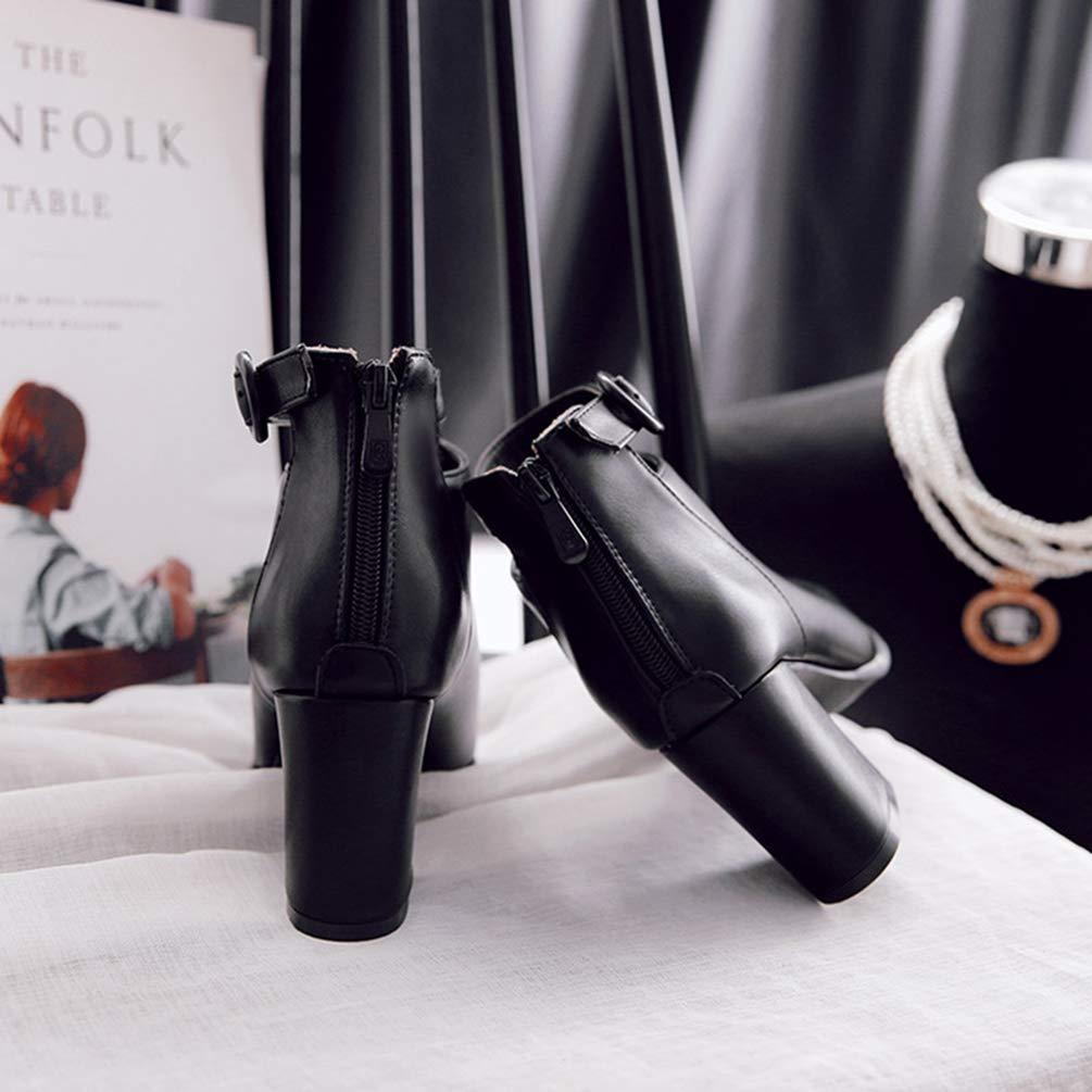 ZHRUI Stivaletti da Donna con con con Tacco a Punta Tacco Alto (colore   Nero, Dimensione   7=41 EU) e3e750