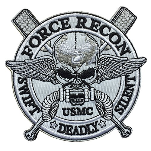SpaceCar USMC Swift Deadly Silent Force Recon Marines Skull Military Tactical Combat Morale Patch 4.92