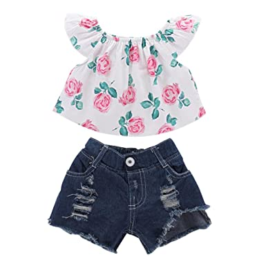 5b58beaefefd Felicy Toddler Kids Baby Girl Summer Floral Off Shoulder Tops T Shirt Sun- Top + Denim Shorts Outfits Set - Baby Clothes Set: Amazon.co.uk: Clothing
