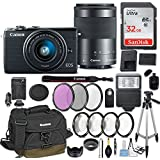 Canon EOS M100 Mirrorless Digital Camera w/EF-M 15-45mm f/3.5-6.3 & EF-M 55-200mm f/4.5-6.3 IS STM Bundle Black + Canon Gadget Bag + 32GB Memory + Professional Accessories - Filters, Macros & More.