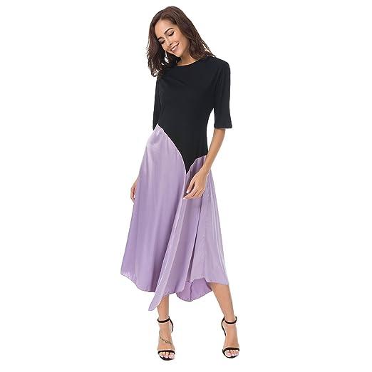 Zumine Women's Color Block Maxi Dress Half Sleeve Vintage Midi Dress (M, Purple)
