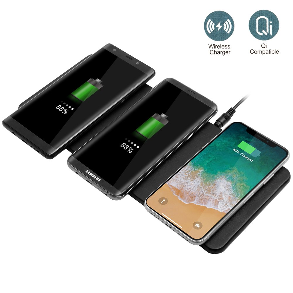 Qi Triple Wireless Charger Station,JE 3 Devices Multi Wireless Charger Pad,Desktop Charging Station for iPhone X, iPhone 8/8Plus, Samsung Galaxy S8+ S7/S7 Edge Note 8/5, Nexus 5/6/7& all QI-Enabled … by JE (Image #1)