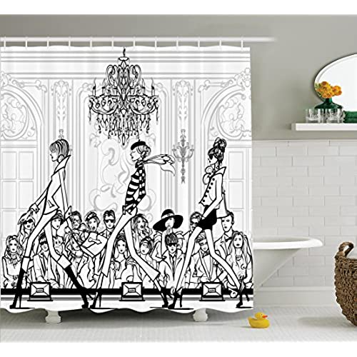 artistic shower curtains. Wonderful Shower Ambesonne Girly Decor Shower Curtain Fashion Show With Catwalk Mannequins  And Audience Supermodel Human Crowd Illustration Polyester Fabric Bathroom Set  To Artistic Curtains