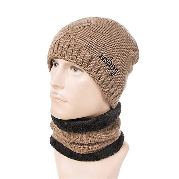 Thick Winter Hat Scarf Unisex Knitting Warm Beanie Hat Ring Scarves A at  Amazon Women s Clothing store  17a060aff