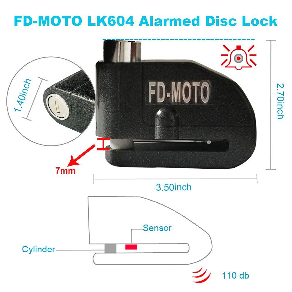 110dB Noir Alarme Bloque Disque Cadenas Moto pour V/élo Bicyclette Moto Scooter FD-MOTO /φ10MM//1,2M Longue Antivol de Cha/îne