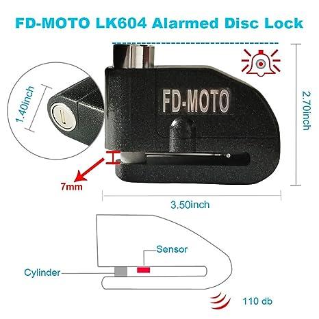 FD-MOTO - Dispositivos Antirrobo Candado de Disco con Alarma Antirrobo Acero 7mm 110DB Negro con Cable Enrollado de 1,4M para Moto Motocicleta: Amazon.es: ...