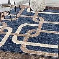 Interlocking Modern Blue Area Rug