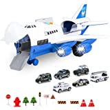 BAZOVE Car Toys Set with Transport Cargo Airplane, Mini Educational Vehicle Police Car Set for Kids Toddlers Boys Child Gift