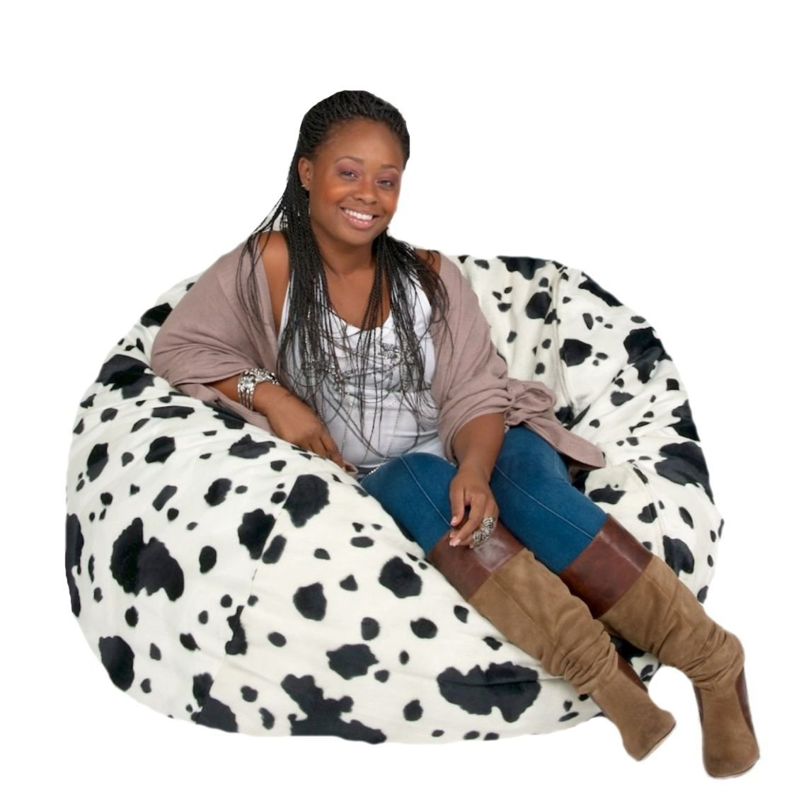 Cozy Sack Bean Bag Chair: Large 4 Foot Foam Filled Bean Bag - Large Bean Bag Chair, Protective Liner, Plush Micro Fiber Removable Cover - Cow by Cozy