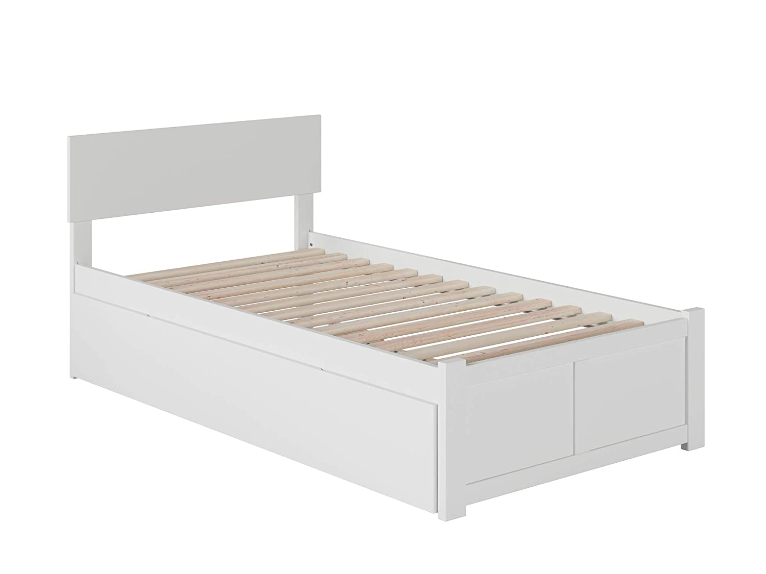 Atlantic Furniture Orlando Platform Bed with Footboard and Turbo Charger with Twin Extra Long Trundle, White