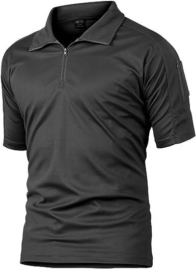 Camisa de Combate para Hombres Caza táctica Militar Polo de Manga Corta Held Airsoft Camuflaje Camiseta Uniforme táctico Ropa Deportes al Aire Libre para Multicam Negro Large: Amazon.es: Ropa y accesorios