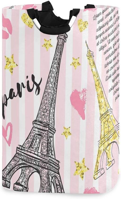 ALAZA Cute Laundry Basket Collapsible, Fabric Laundry Hamper Basket Foldable, Dirty Clothes Hamper Stylish Paris Eiffel Tower