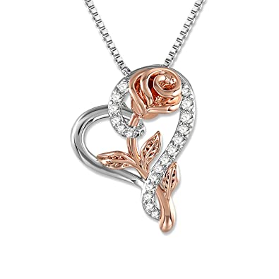 Snzm Rose Necklace For Women 5a Cubic Zirconia Love Heart Pendant Necklace Jewelry With Gift Box