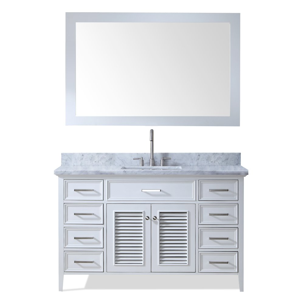 ARIEL Kensington D055S-WHT 55 Inch Solid Wood Single Rectangular Sink White Bathroom Vanity Set with Carrara Marble Countertop