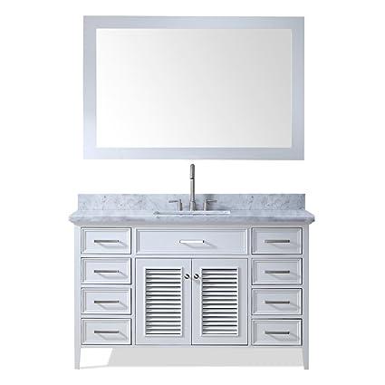 Ariel D055s Wht Kensington 55 Inch Solid Wood Single Sink Bathroom