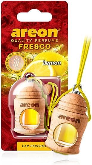 Areon Fresco Auto Duft Zitrone Glas Duftflakon Flakon Holz Hängend Anhänger Spiegel Gelb 4ml Pack X 1 Auto