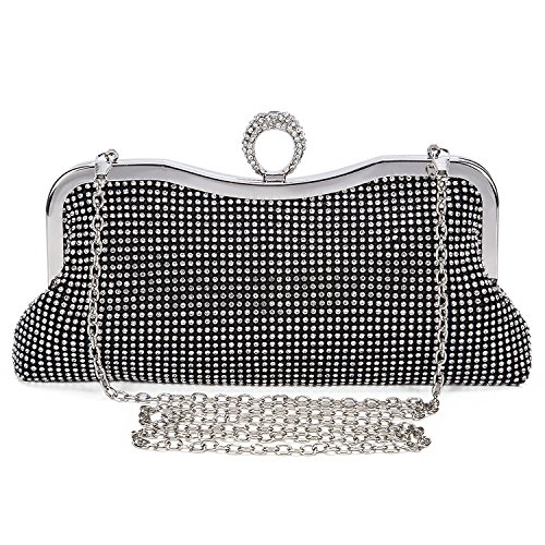 Womens Faux Pearl Cascading Bead Rhinestone Evening Clutch Bag Black