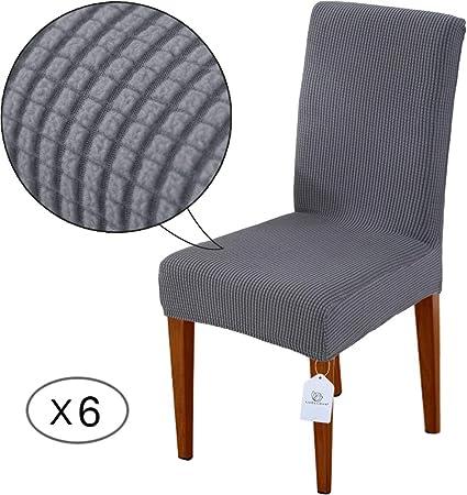 LUOLLOVE Housses de chaises, Extensible Amovible Lavable Housse de Chaise de Salle a Manger, Housse de Chaise Extensible(6 Pièces,Grises)