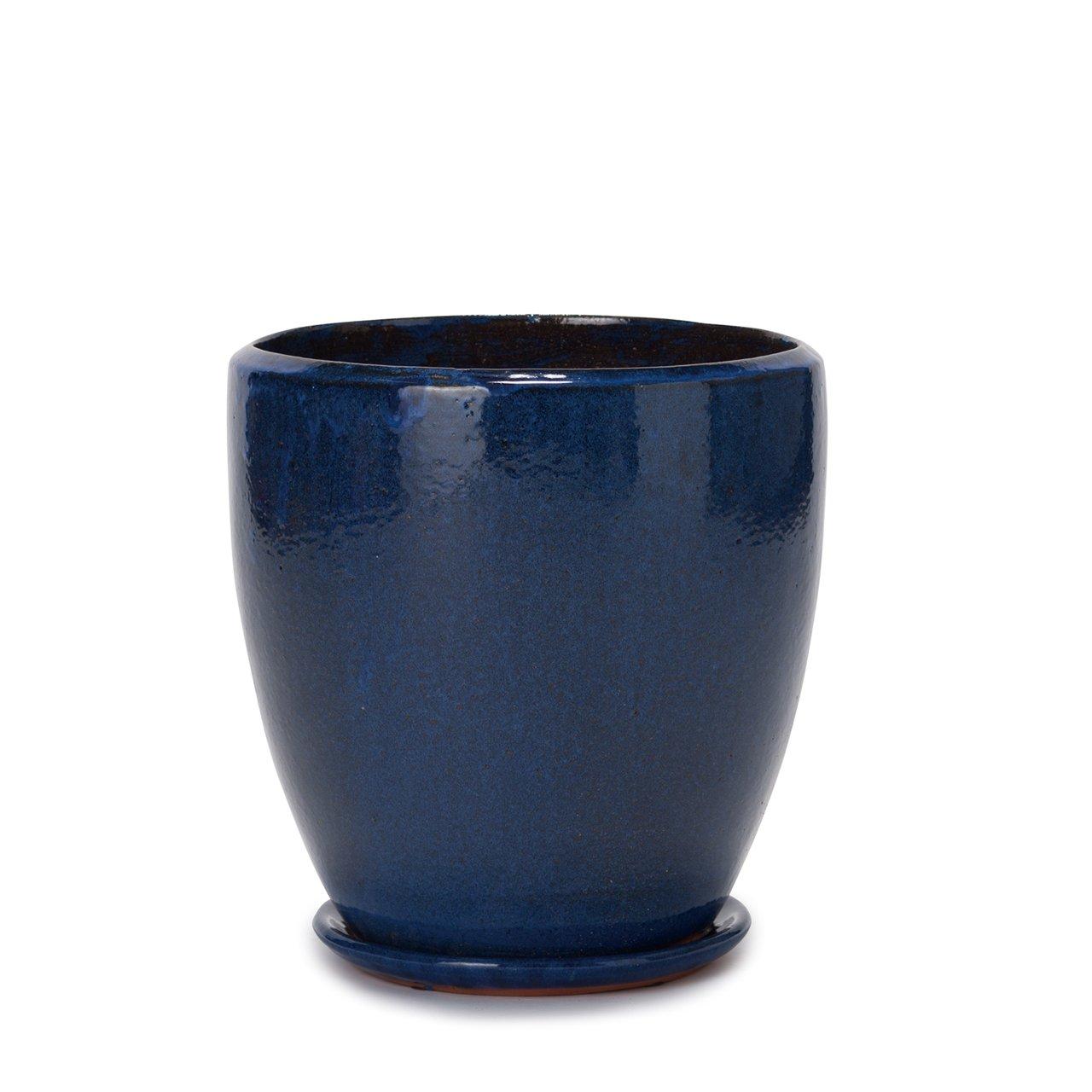 植木鉢 大型中型 ヴィトロ ドュオ 受け皿付き S 9号 ブルー釉 B07D98TNK6 S 9号|ブルー釉 ブルー釉 S 9号