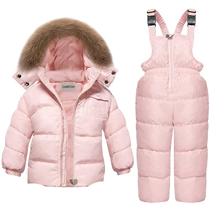 CARETOO Baby Boys Girls Winter Down Coats Snowsuit Outerwear 2Pcs Clothes Hooded Jacket Snow Ski Bib Pants Outfits Set best girls snowsuits