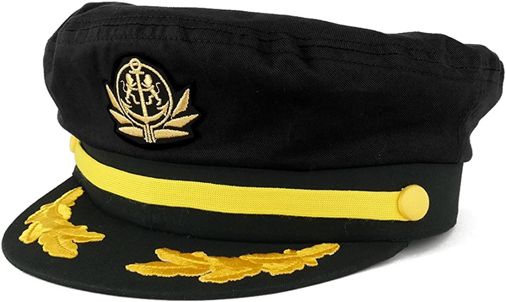 Adjustable Gold Color Embroidery Leafs and Patch Flagship Captain Hat