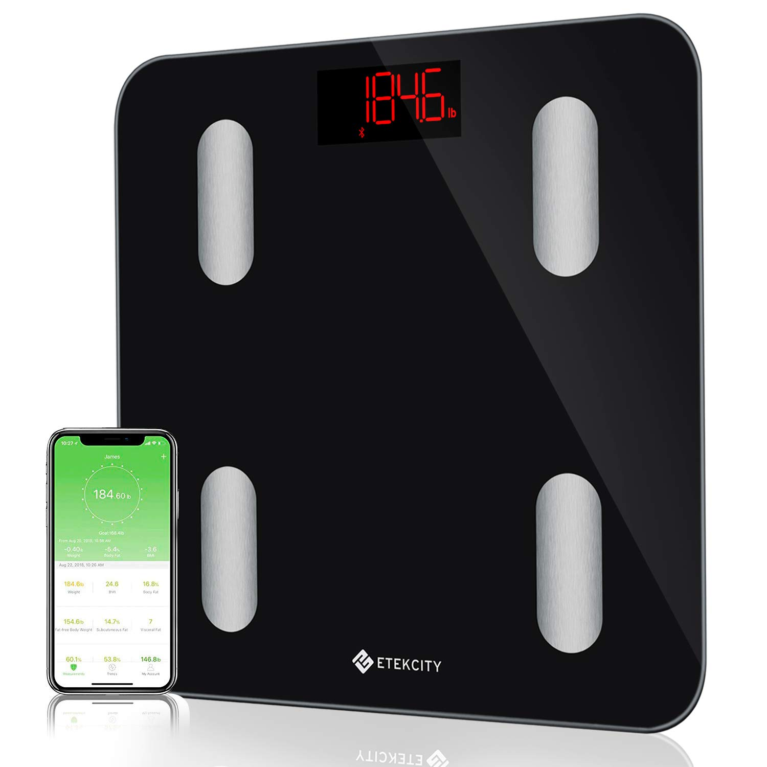 Etekcity Bluetooth Body Fat Scale, Digital Bathroom Weight Scale with Smartphone APP to Monitor 13 Body Composition Include Body Fat, BMI, BMR, Muscle, Water, Bone and More, 400 lbs