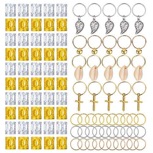 Hicarer 50 Pieces Aluminum Dreadlocks Beads Metal Cuffs and