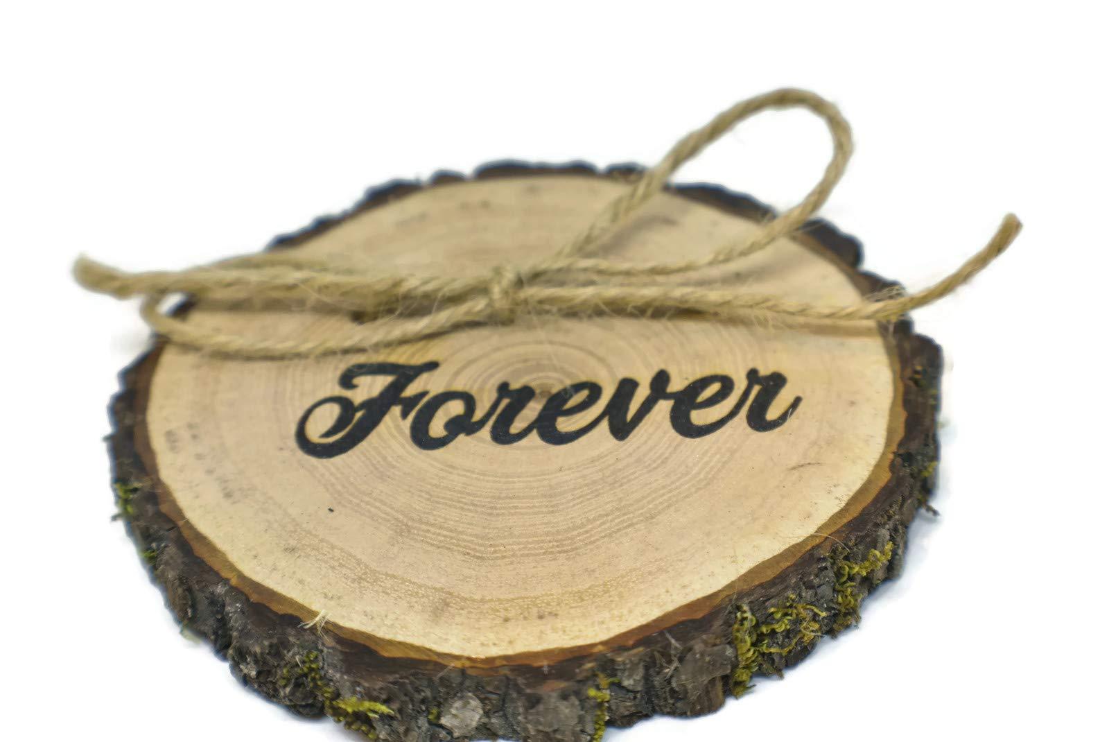 OzarkCraftWood Forever Wood Rustic Ring Bearer Pillow