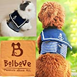 Bro'Bear Adjustable Cool Soft Velcro Cat Dog Safety Walking Navy Sailor Style Harness Puppy Kitty Vest Pet Spring Clothes Summer Apparel (X-Small)
